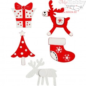 Wooden Stickers, size 25-30 mm, christmas, 10mixed