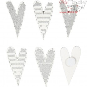 Stickers, size 25x45 mm, oblong hearts, 8mixed