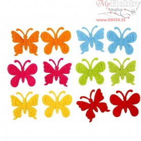 Felt Butterflies, size 3 cm, thickness 1,5 mm, 160mixed