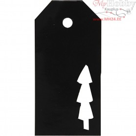 Manilla Tags, size 5x10 cm,  300 g, black, christmas tree, 15pcs