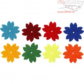 Felt Flowers, D: 3,5 cm, thickness 1 mm, 24mixed