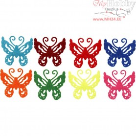 Felt Butterflies, H: 4,5 cm, thickness 1 mm, 24mixed