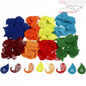 Felt Paisley Decorations, size 5 cm, thickness 1 mm, 224mixed