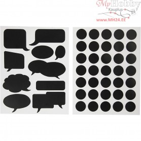Chalkboard Stickers, sheet 14x18 cm, black, circles and speech bubble, 2mixed sheets