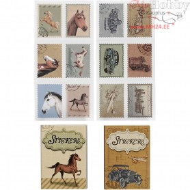 Stickers, size 25x33 mm, horses and cars, 36mixed
