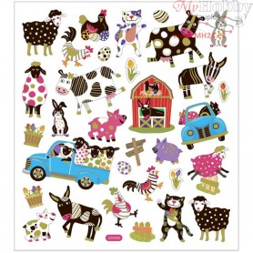Stickers, sheet 15x16,5 cm, approx. 34 pc, animals, 1sheet