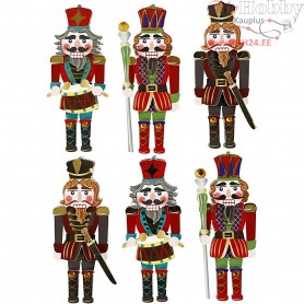 3D Stickers, H: 75 mm, W: 30 mm, nutcracker, 6pcs, thickness 7 mm