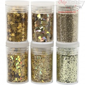 Glitter and Sequin Assortment, gold, 6x5g