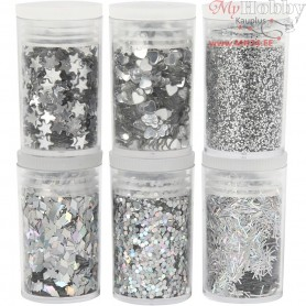 Glitter and Sequin Assortment, silver, 6x5g