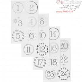 Christmas calendar number stickers, D: 40 mm, sheet 9x14 cm, white, silver, 4sheets