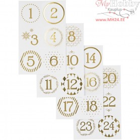 Christmas calendar number stickers, D: 40 mm, sheet 9x14 cm, white, gold, 4sheets