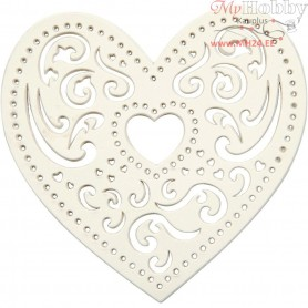 Filigree Heart, W: 7,5 cm,  250 g, white, heart, 18pcs