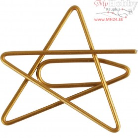Metal Paperclips, size 30x30 mm, gold, star, 6pcs