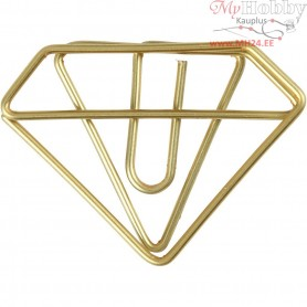 Metal Paperclips, W: 35 mm, H: 25 mm, gold, diamond, 6pcs