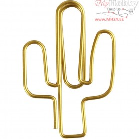 Metal Paperclips, size 40x30 mm, gold, cactus, 6pcs