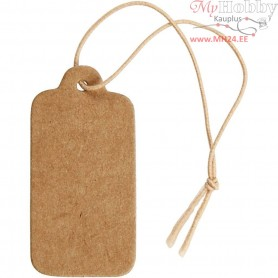 Gift Tags, size 15x30 mm, light brown, 100pcs
