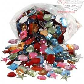 Rhinestones, size 15-17 mm, asstd colours, Aladdin's Cave, 800mixed