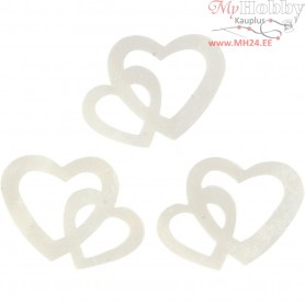 Sequins, off-white, size 31x22 mm, double heart, 10g