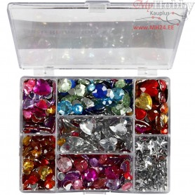 Rhinestones in Display Box, D: 6+7+9+10+11+12+14+16 mm, outer size 16,4x9,2x1,5 cm, blue, silver, pink, Rounds. stars. hearts, 3