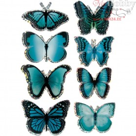 3D Stickers, size 20-35 mm, blue, butterfly, 8pcs