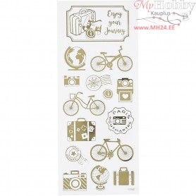 Stickers, sheet 10x24 cm, approx. 15 pc, gold, round the world, 1sheet