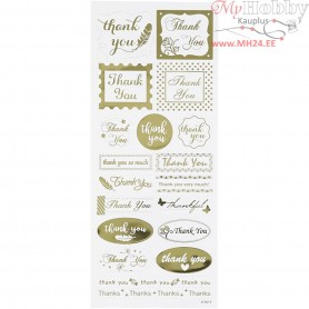 Stickers, sheet 10x24 cm, approx. 19 pc, gold, thank you, 1sheet