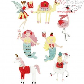 3D Stickers, H: 50-60 mm, W: 30-45 mm, flamingo, llama, mermaid, 7pcs, thickness 7 mm