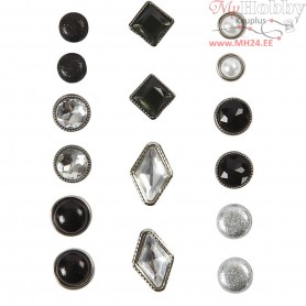 Deco Rivets, size 8-18 mm, black, 16mixed