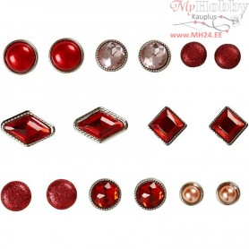 Deco Rivets, size 8-18 mm, red, 16mixed