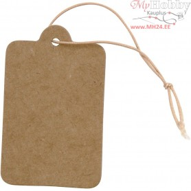 Gift Tags, size 25x40 mm, light brown, 100pcs