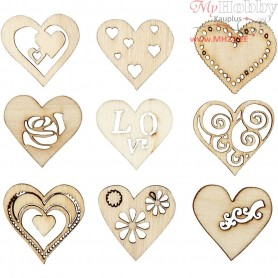 Wooden decorations, size 28 mm, love, 45mixed