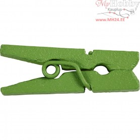Mini Clothes Peg, L: 25 mm, W: 3 mm, green, 36pcs