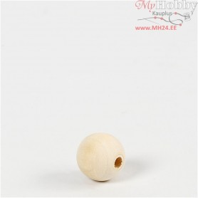 Wooden Bead, D: 15 mm, hole size 3 mm, china berry, 20pcs