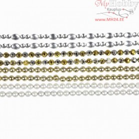 Stick-On Rhinestones, L: 15 cm, W: 4 mm, mother-of-pearl, gold, silver, 8sheets