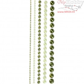 Half Pearls, size 2-8 mm, green, 140mixed