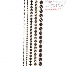 Half Pearls, size 2-8 mm, brown, 140mixed