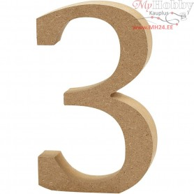 Number, 3, H: 13 cm, thickness 2 cm, MDF, 1pc
