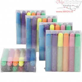 Glitter Glue,  10 ml, asstd colours, 60pcs