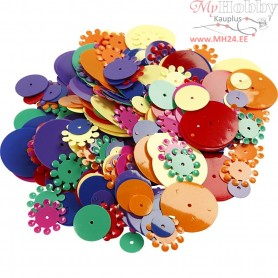 Sequins, size 10-25 mm, asstd colours, round, 35g