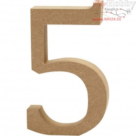 Number, 5, H: 13 cm, thickness 2 cm, MDF, 1pc