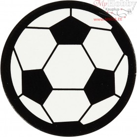 Cardboard Emblem, white/black, D: 25 mm, football, 20pcs