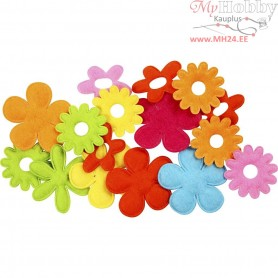 Felt Flowers, largest size 35x45 mm, thickness 1,2 mm, 16mixed