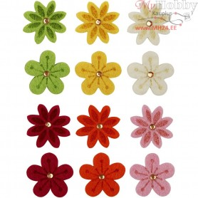 Felt Flowers, D: 30 mm, thickness 2,5 mm, 120mixed