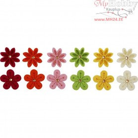 Felt Flowers, D: 30 mm, thickness 2,5 mm, 12mixed