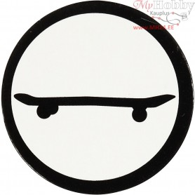 Cardboard Emblem, white/black, D: 25 mm, skateboard, 20pcs