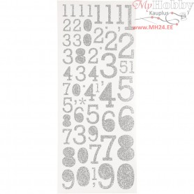 Glitter Stickers, sheet 10x24 cm, silver, numbers, 2sheets