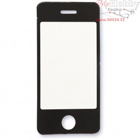 Cardboard Emblem, white/black, size 34x71 mm, mobile phone, 10pcs