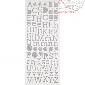 Glitter Stickers, sheet 10x24 cm, silver, letters, 2sheets