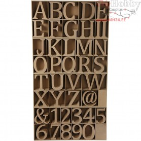 Wooden Letters, Numbers And Symbols, including free wooden display, H: 13 cm, thickness 2 cm, MDF, 160pcs