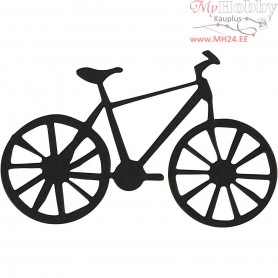 Cardboard Emblem, black, size 77x48 mm, bicycle, 10pcs